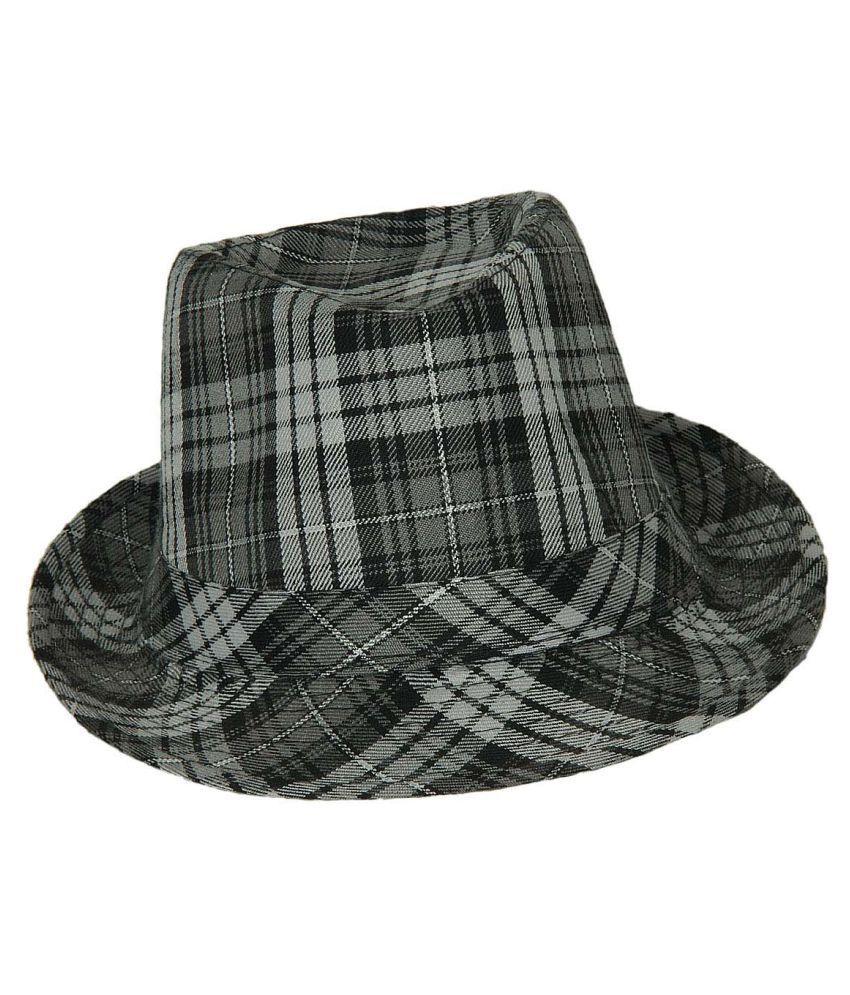Tiekart Gray Checkered Cotton Hats