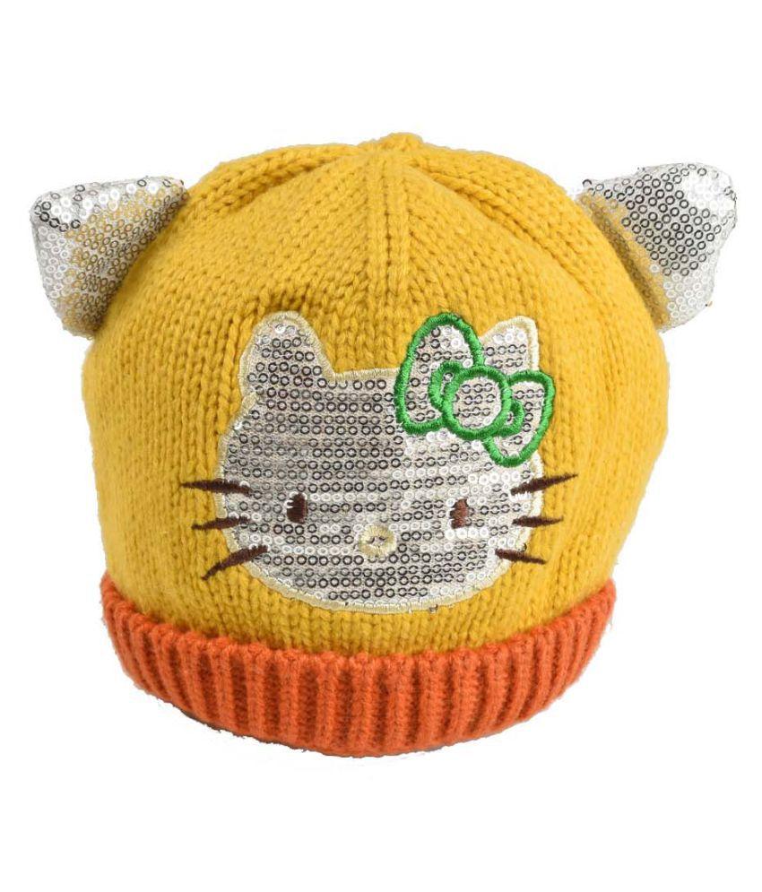 Tiekart Yellow Designer Winter Warm Woolen Cap for Kids