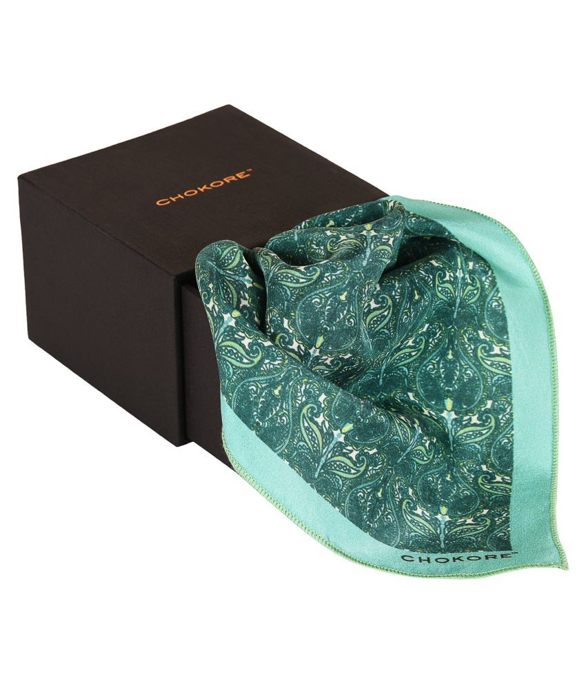 Chokore Light Sea Green Silk Pocket Square - Indian At Heart line