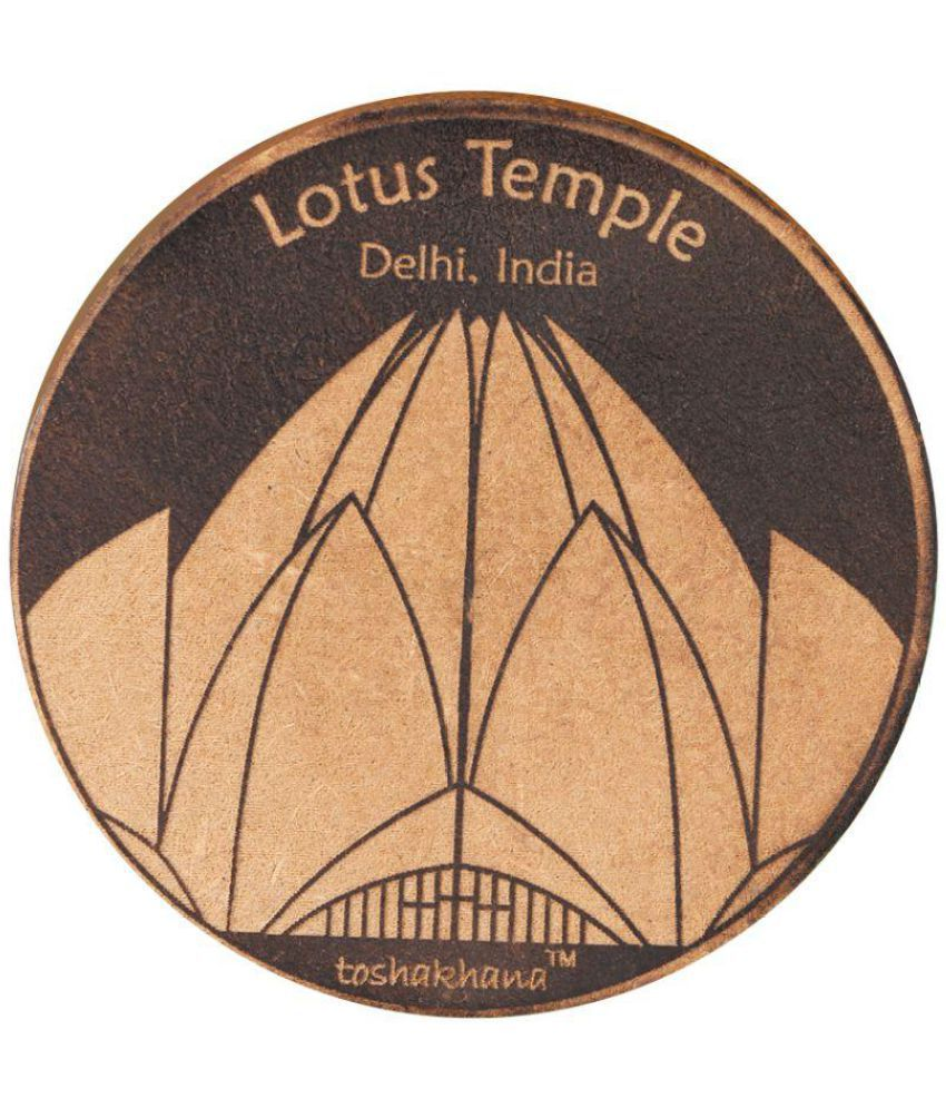 toshakhana MDF Laser Cut Lotus Temple Delhi India Wood Fridge Magnet   Pack of 1