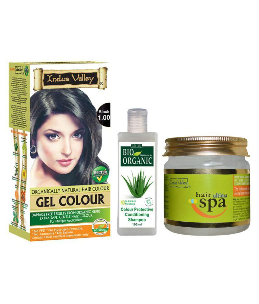 Indus Valley Gel Black Hair Color With Shampoo & Hair Spa Mask For Hair Nourishment