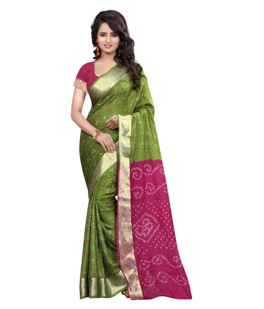 Concepta Green and Purple Art Silk Saree