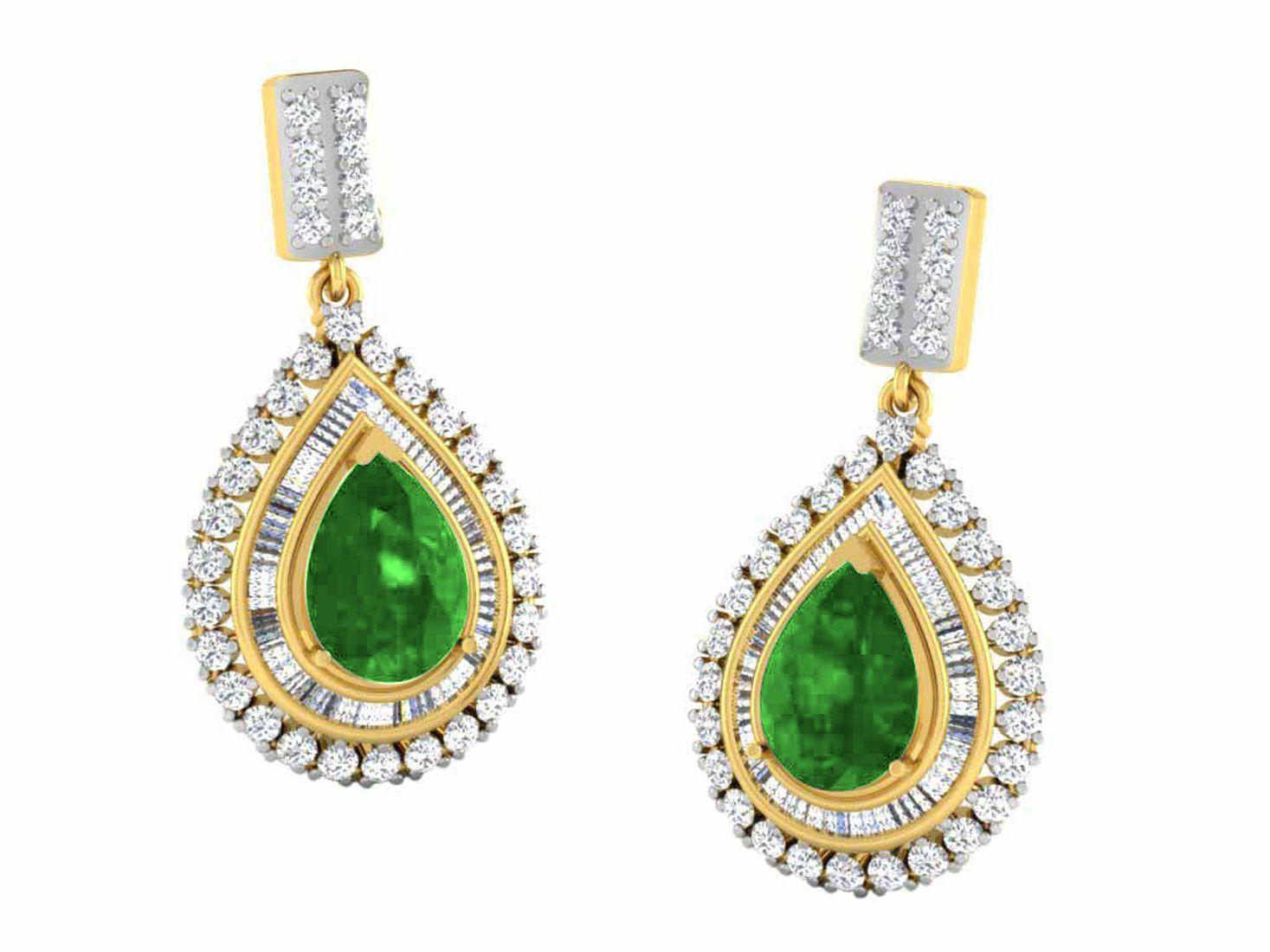 His & Her 9k Yellow Gold Emerald Drop Earrings