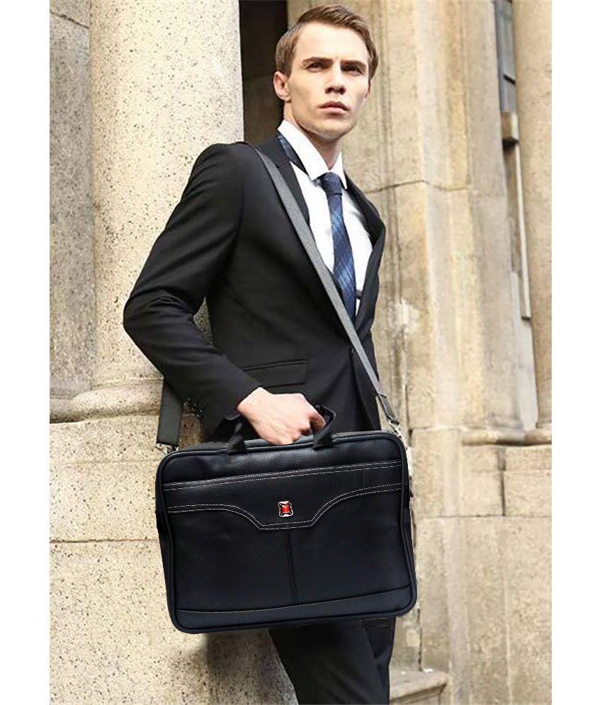 Stylcozy SCBS016 Black P.U Leather Laptop Office Bag
