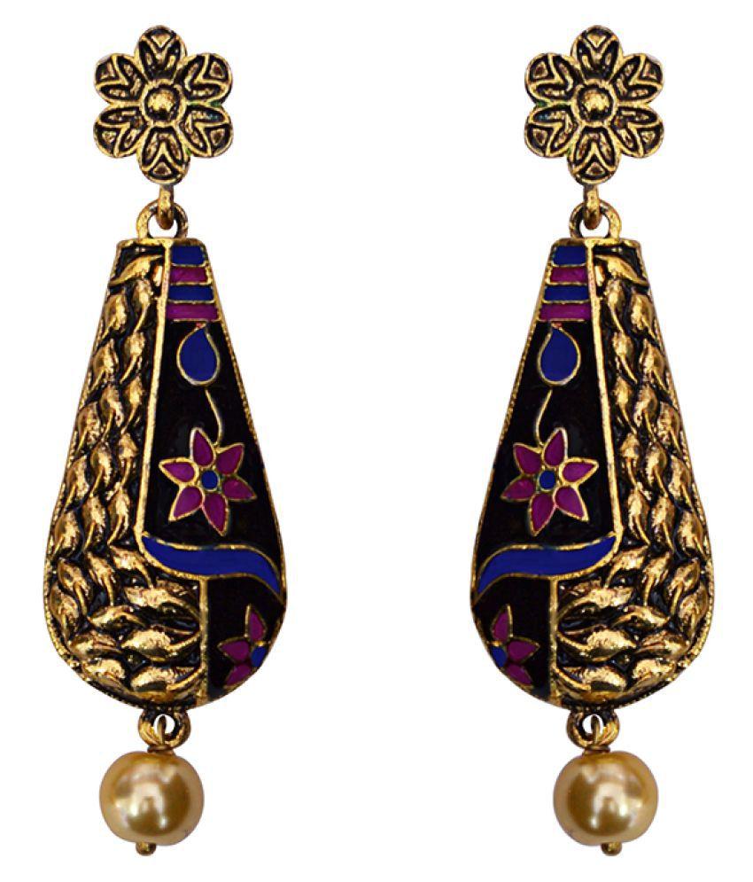 Valentine Antique Meenakari lotus pendant gold plated brass jhumki earrings for gilrls and women