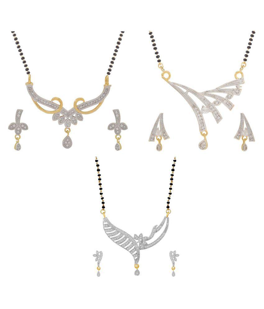 Aabhu Fashionable Combo of 3 Amercian Diamond Mangalsutra with Earrings Jewellery Set for Women
