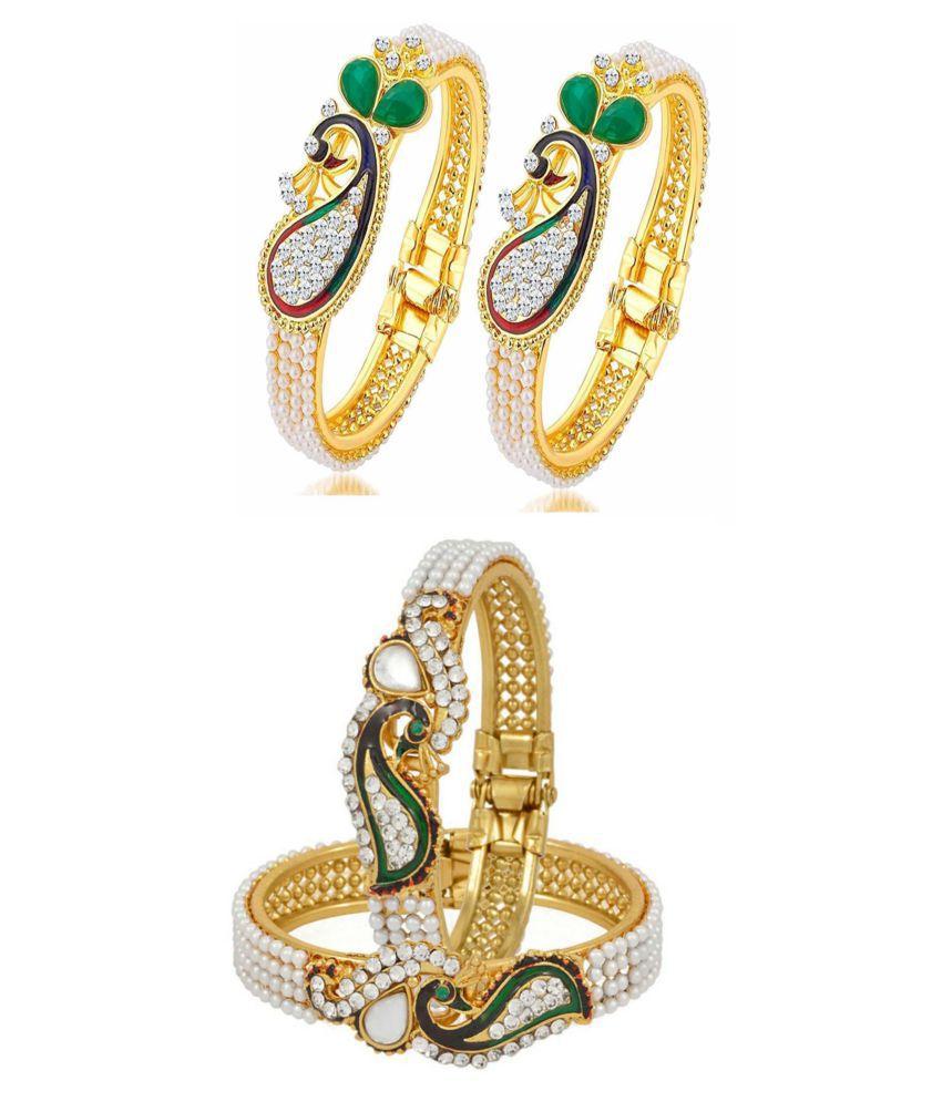 Bhagya Lakshmi Traditional Antique Peacock Bracelet Combo For Women