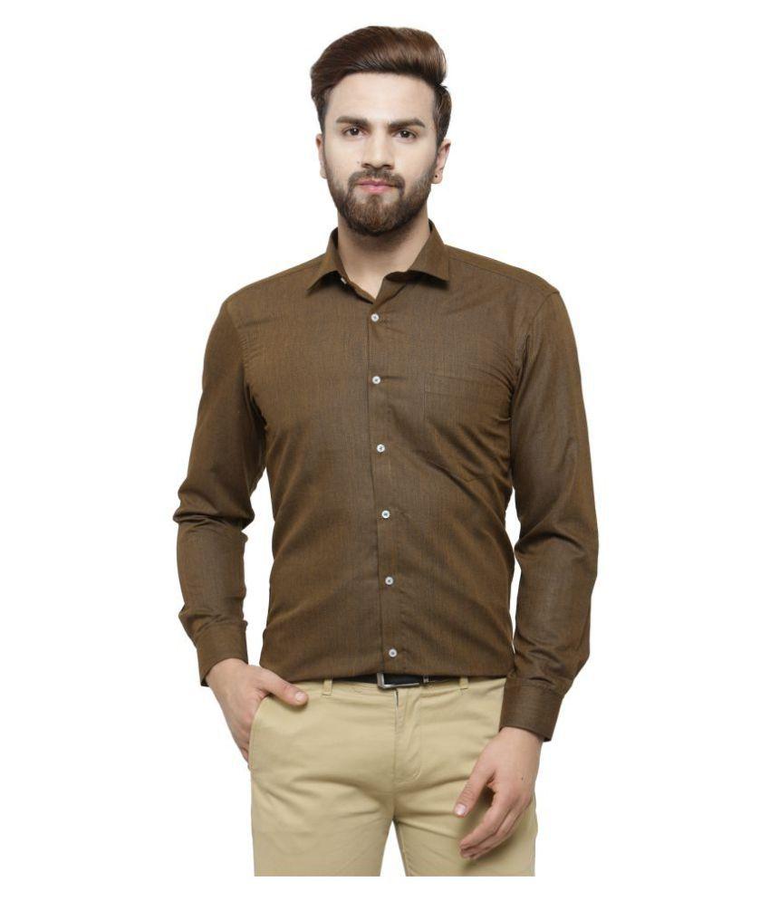RG Designers Brown Slim Fit Formal Shirt