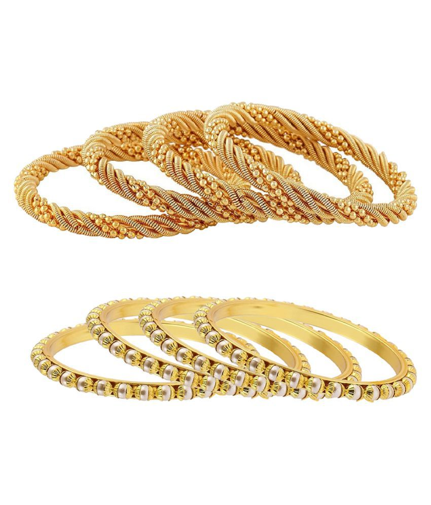 Aabhu Gold Plated Traditional Jewellery Fancy Bangles kada Set Combo of 4 Pair for Women And Girls