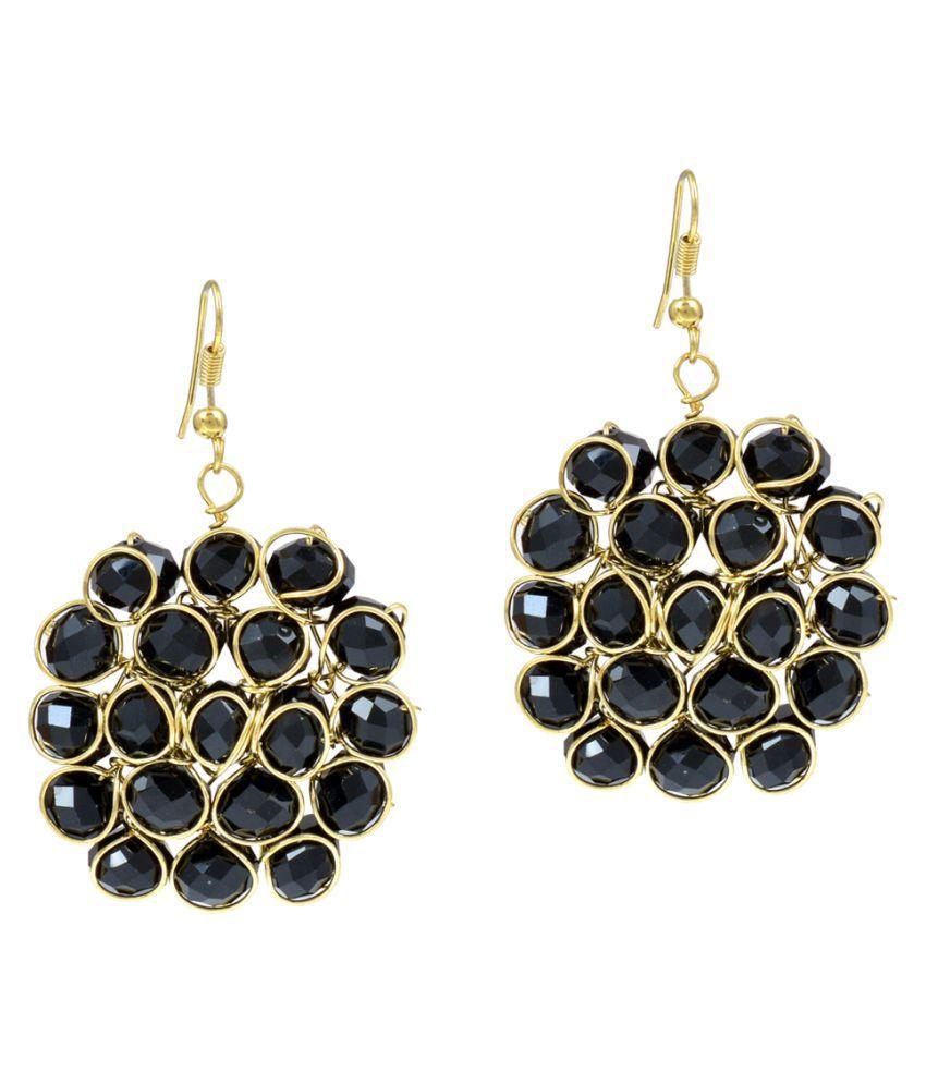 DzineTrendz Beehive Design Beads Brass Dangle Earring