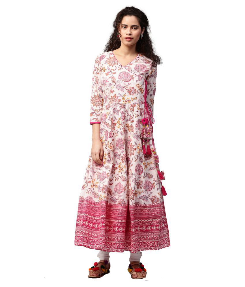028f15f37 Jaipur Kurti Pink Cotton A-line Kurti - Buy Jaipur Kurti Pink Cotton A-line Kurti  Online at Best Prices in India on Snapdeal