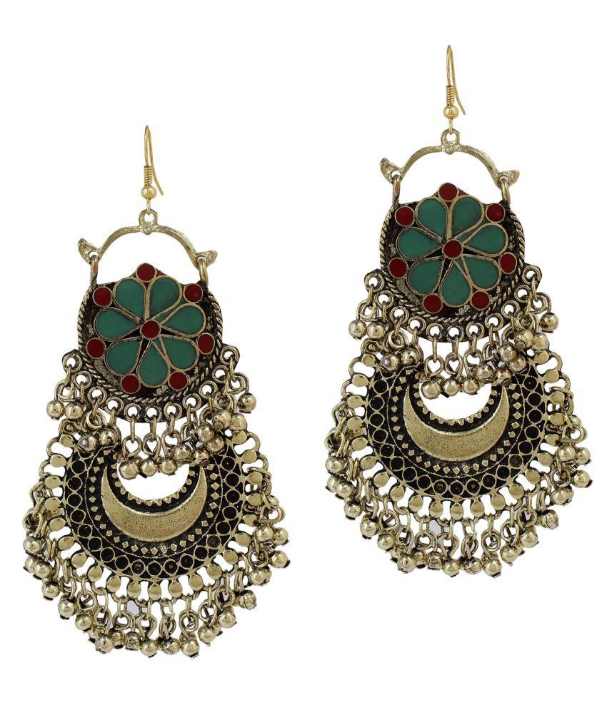 Mali Fionna Golden Oxidised Green Red Chandbali Earrings