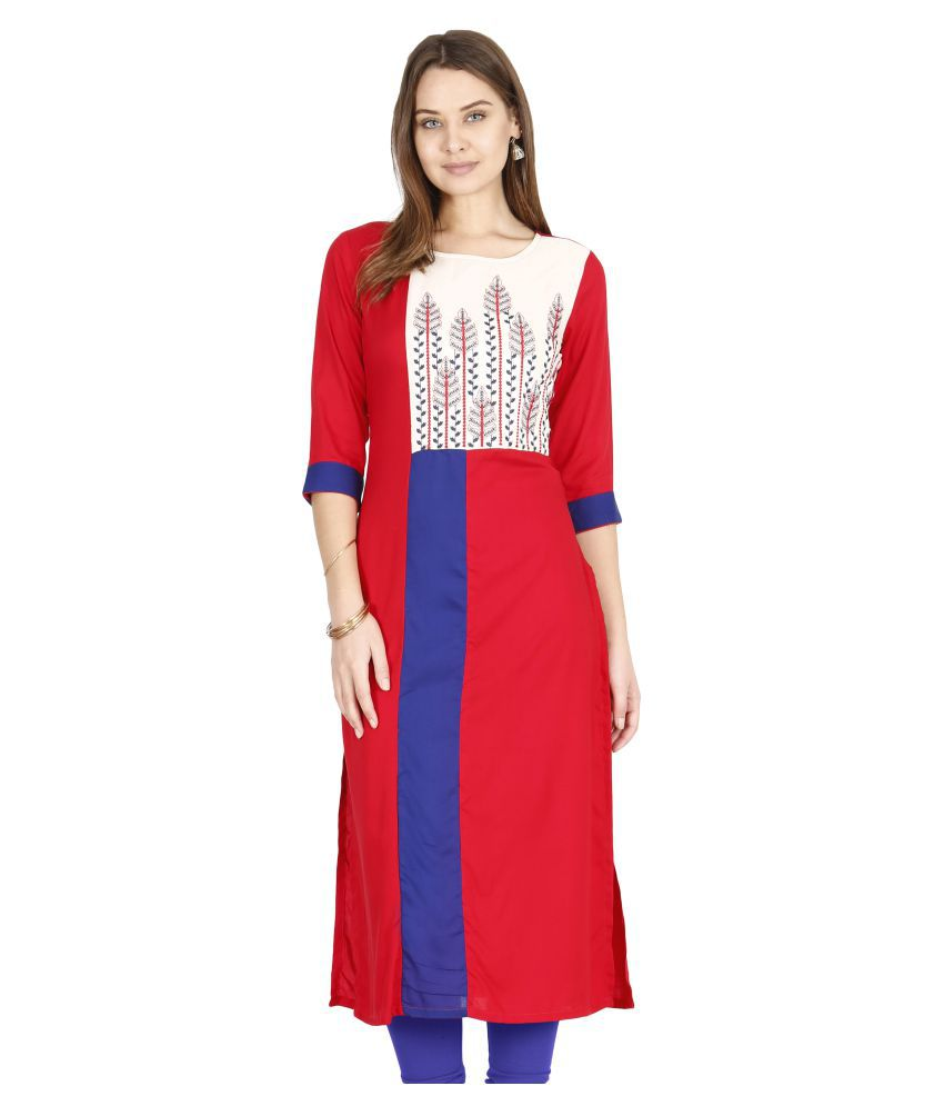 00462ff026 ALENA Red Rayon Straight Kurti - Buy ALENA Red Rayon Straight Kurti Online  at Best Prices in India on Snapdeal