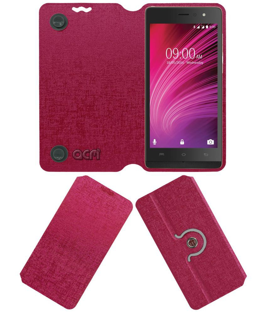 newest ba5a9 9b6e4 Lava A97 Ips Flip Cover by ACM - Pink