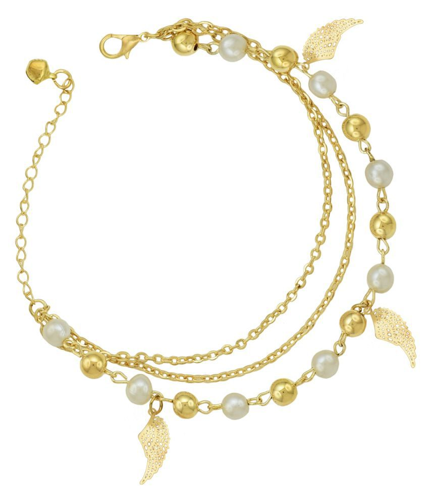 High Trendz Trendy Light Weight Gold Plated Pearl Anklet With Hanging Wings For Women And Girls