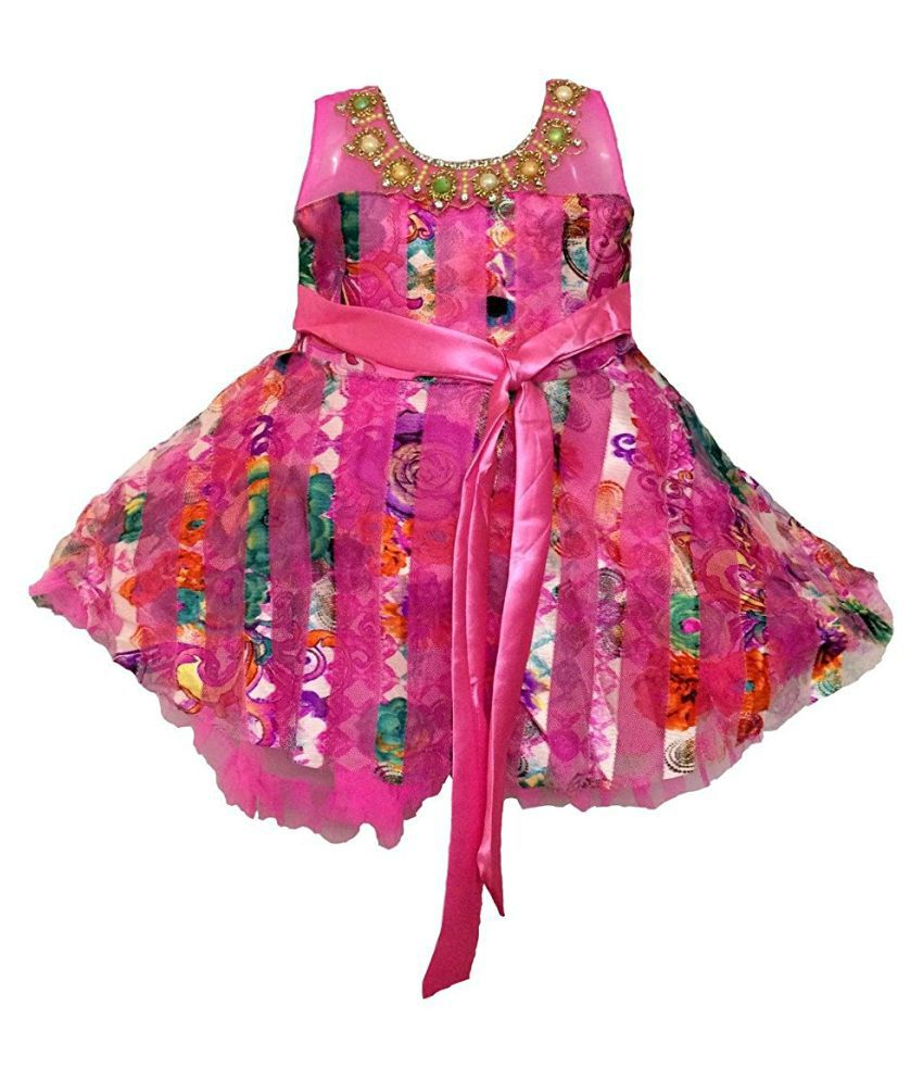 All About Pinks' Net Frock in Floral Stripes in Pink Colour