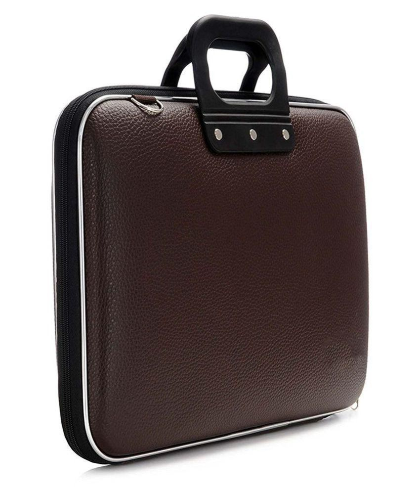 Home Story Brown PU Leather Office Laptop Bag