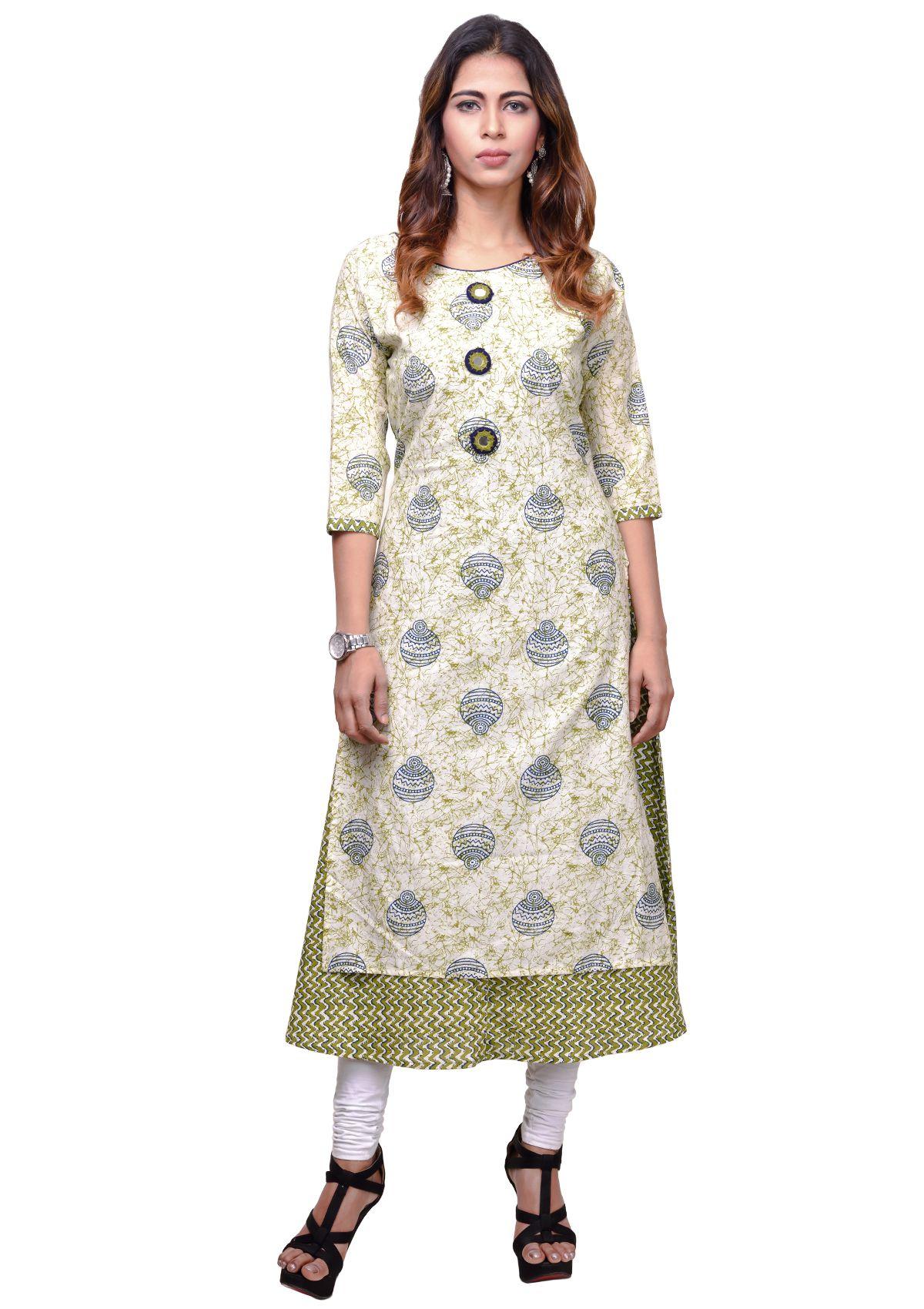 Vedika Creations Multicoloured Cotton Angrakha Kurti