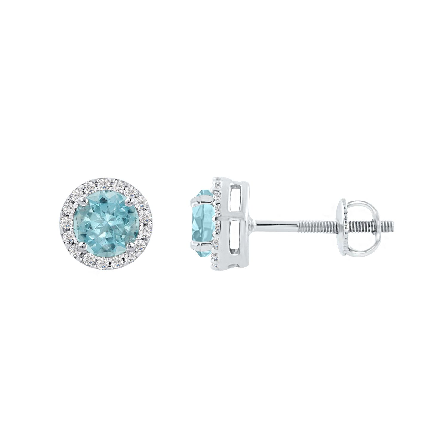 Silver Dew Earrings For Women In Pure Silver Round Shape Aquamarine Colorstone CZ Diamond Rhodium Plating (7mm)