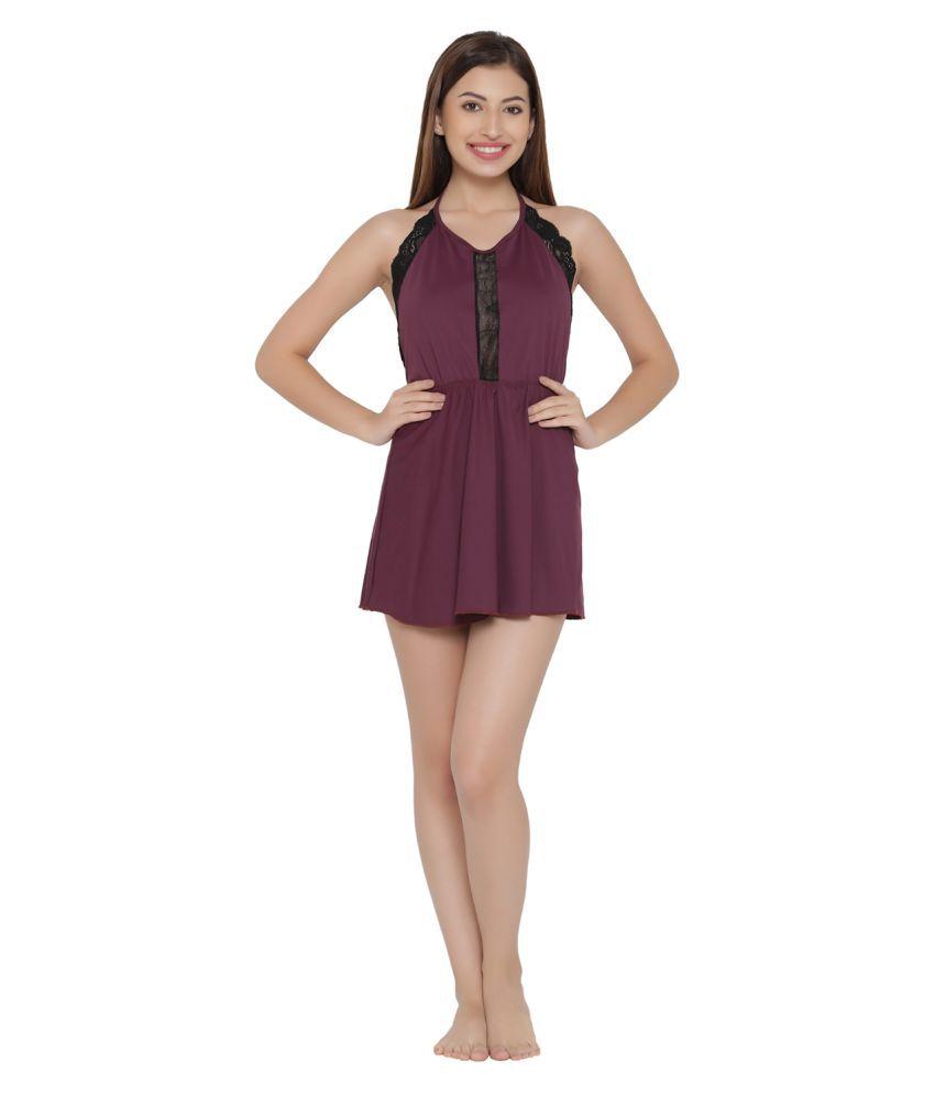 Clovia Lace Nighty & Night Gowns - Purple