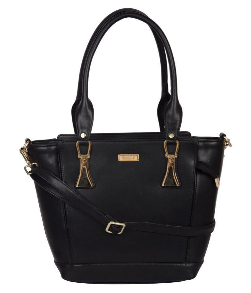 FINEST Black Artificial Leather Shoulder Bag
