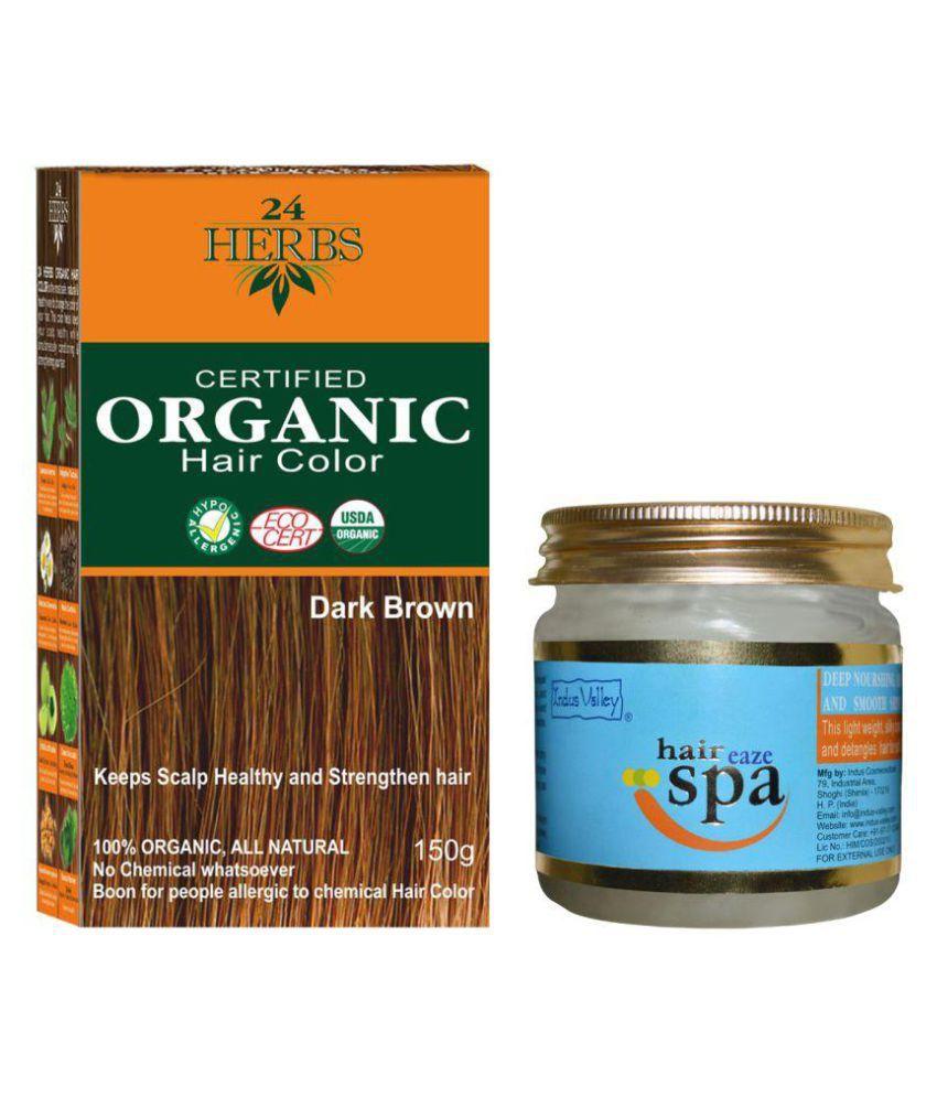 Indus Valley Organic 24 Herbs Dark Brown with Hair Eaze Spa Semi Permanent Hair Color Dark Brown 400 gm Pack of 2