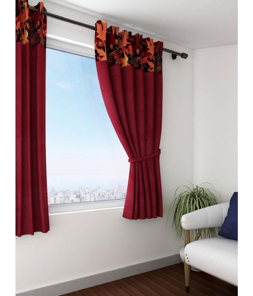 Swayam Single Window Eyelet Curtains Solid Maroon