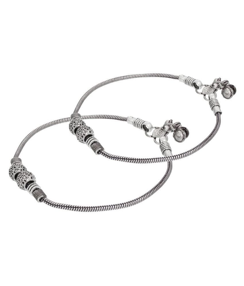 The Luxor Ethnic Traditional German Oxidised Silver Anklet/Payal for Women and Girls