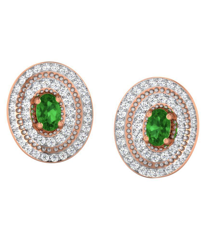 His & Her 18k BIS Hallmarked Rose Gold Emerald Studs