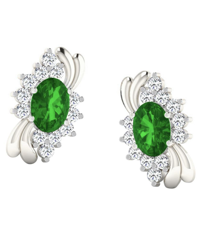 His & Her 18k BIS Hallmarked White Gold Emerald Studs