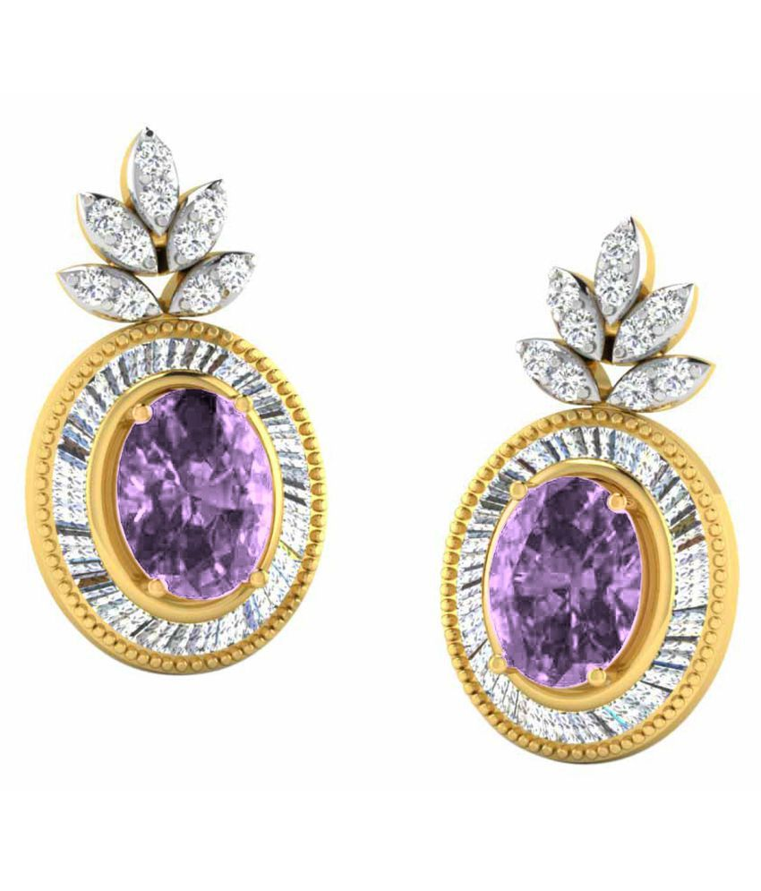 His & Her 18k BIS Hallmarked Yellow Gold Amethyst Drop Earrings