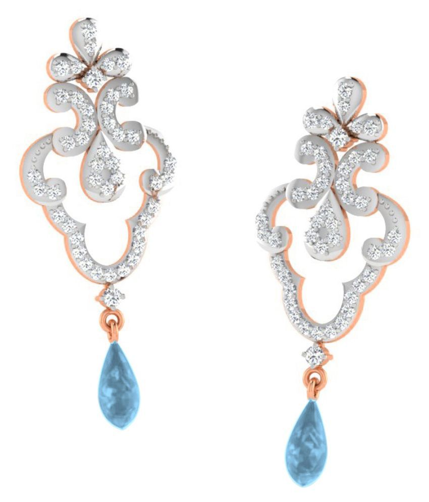 His & Her 18k BIS Hallmarked Rose Gold Topaz Drop Earrings