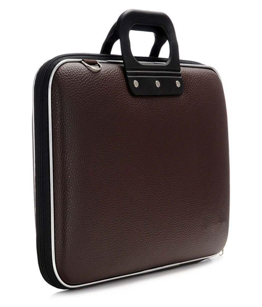 Sultaan Brown PU Leather Laptop Bag (15 Inches)
