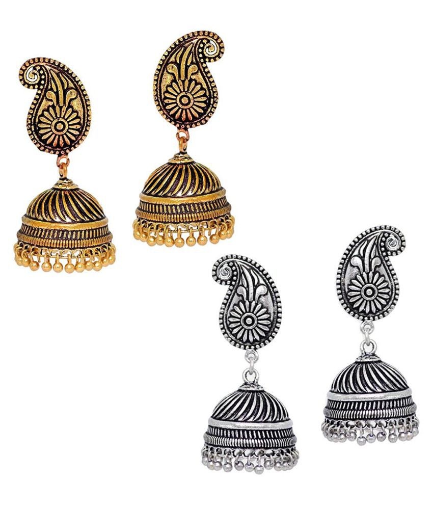 Oxidised Silver & Gold Plated Jhumka Earrings