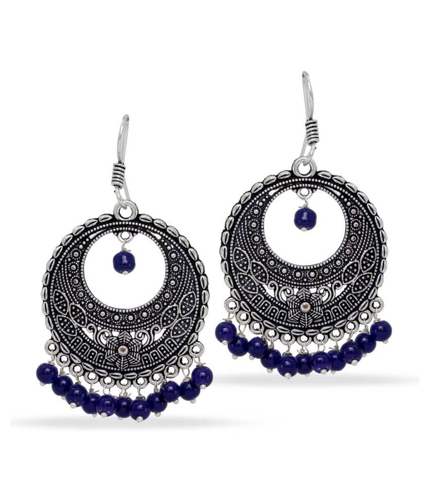 Party Wear Silver Tone Oxidised Blue Bead Hoop Earings
