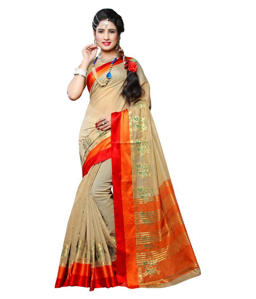 Urban India Beige Cotton Silk Saree