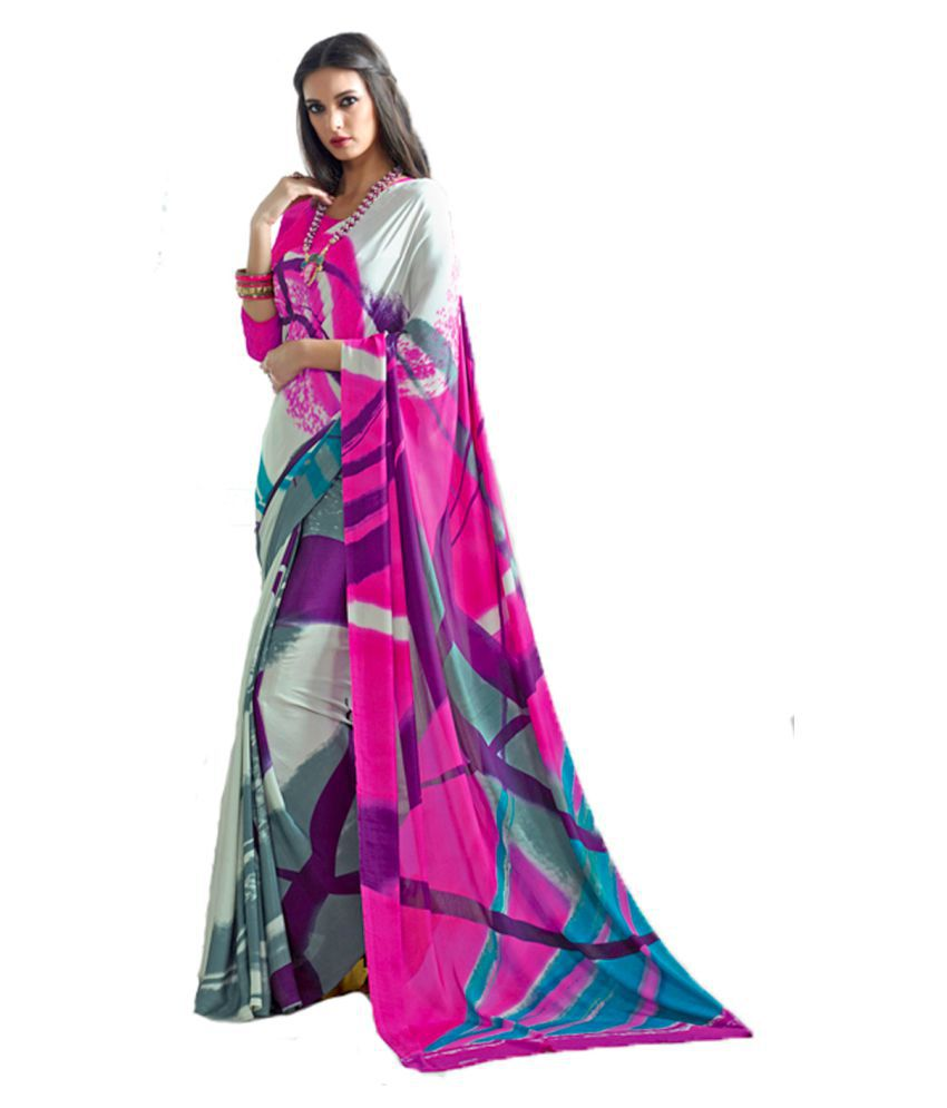 Urban India Multicoloured Crepe Saree