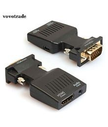 WowObjects 1pc 1080P VGA Male to HDMI Female Video Adapter W/ 3.5mm Audio / Mini USB for Laptop Ultrabook Desktop Projector
