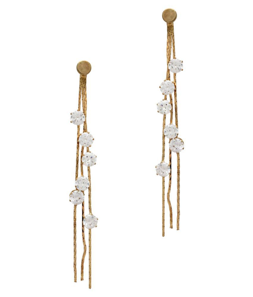 Gold Color Glass Stone Traditional Drop Earrings
