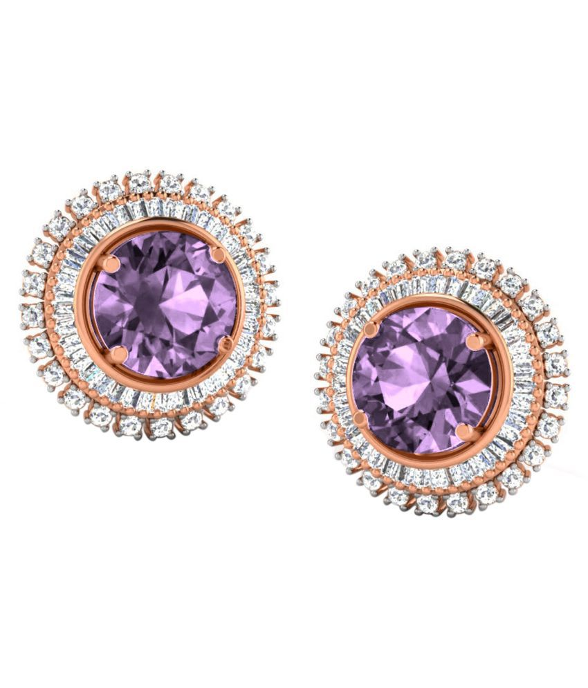 His & Her 18k BIS Hallmarked Rose Gold Amethyst Studs