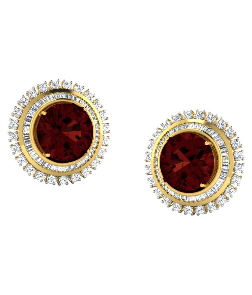 His & Her 18k BIS Hallmarked Yellow Gold Garnet Studs