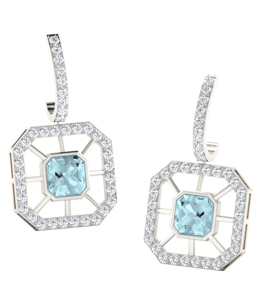 His & Her 18k BIS Hallmarked White Gold Aquamarine Drop Earrings