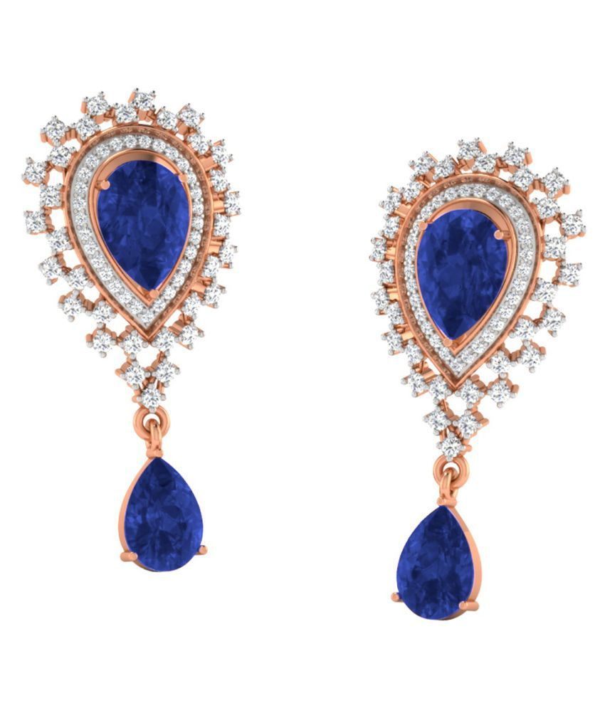 His & Her 18k BIS Hallmarked Rose Gold Sapphire Studs
