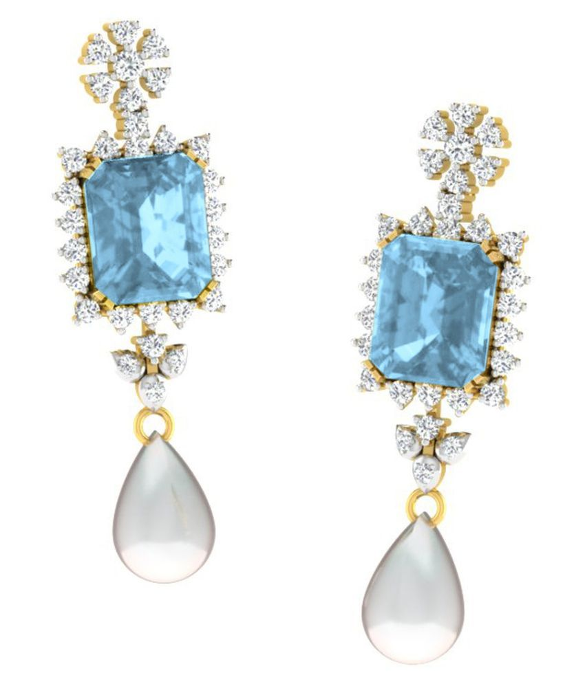 His & Her 18k BIS Hallmarked Yellow Gold Topaz Drop Earrings