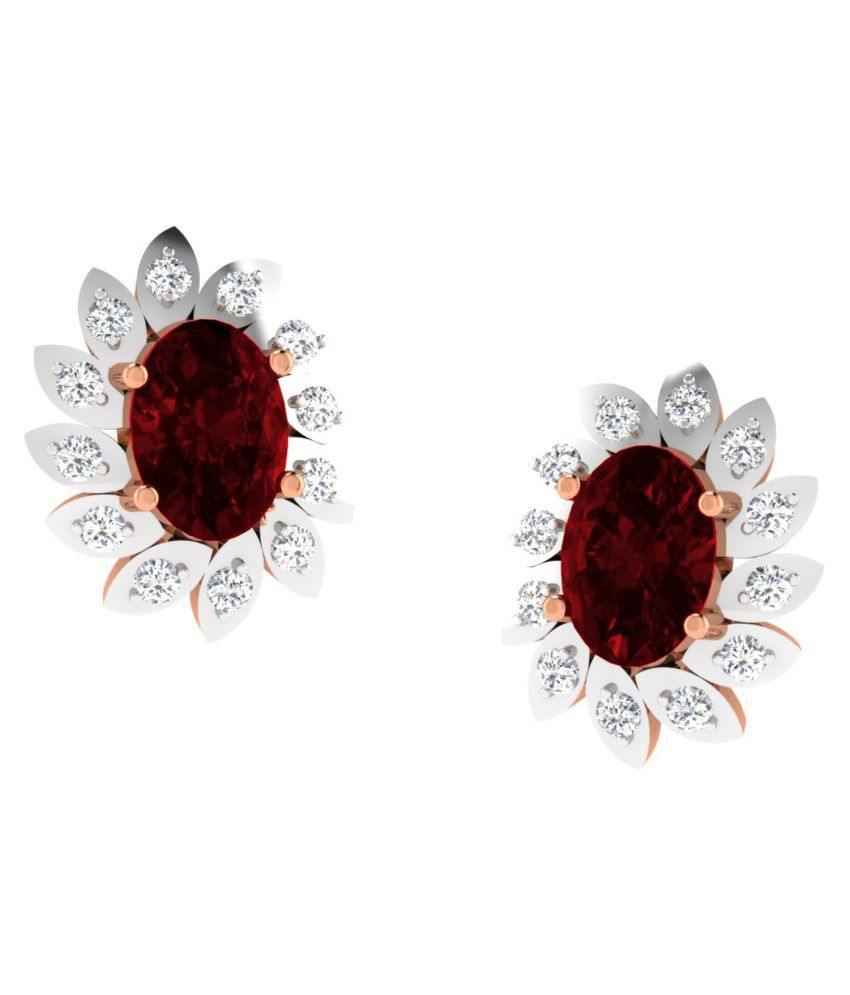 His & Her 18k BIS Hallmarked Rose Gold Garnet Studs