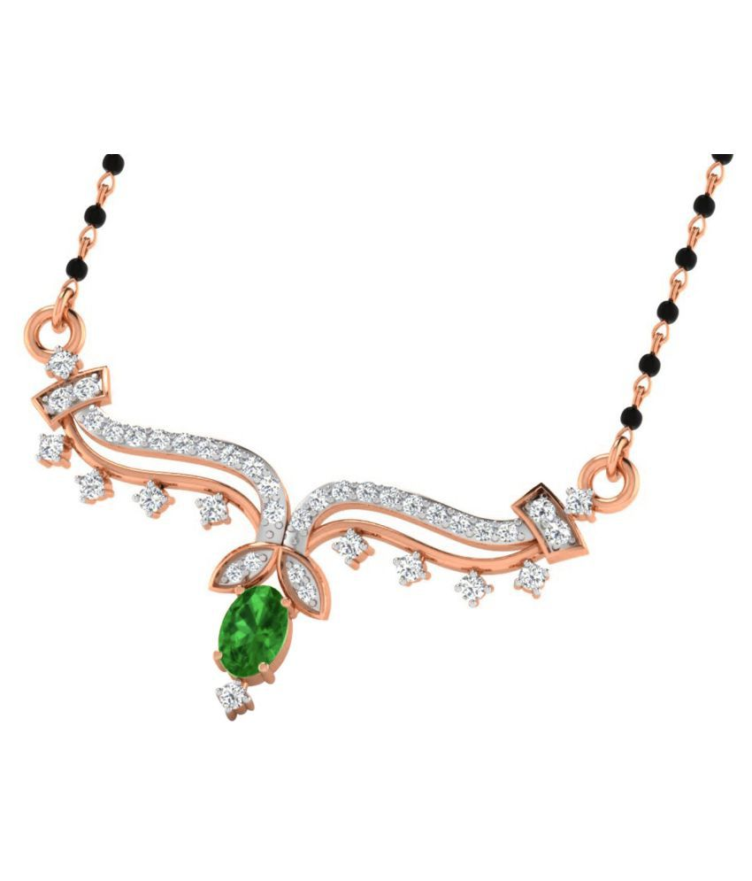His & Her 18k Rose Gold Emerald Mangalsutra