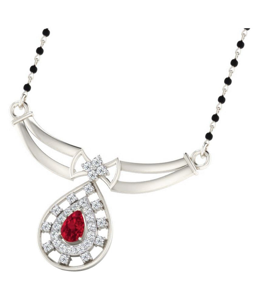 His & Her 18k White Gold Garnet Mangalsutra