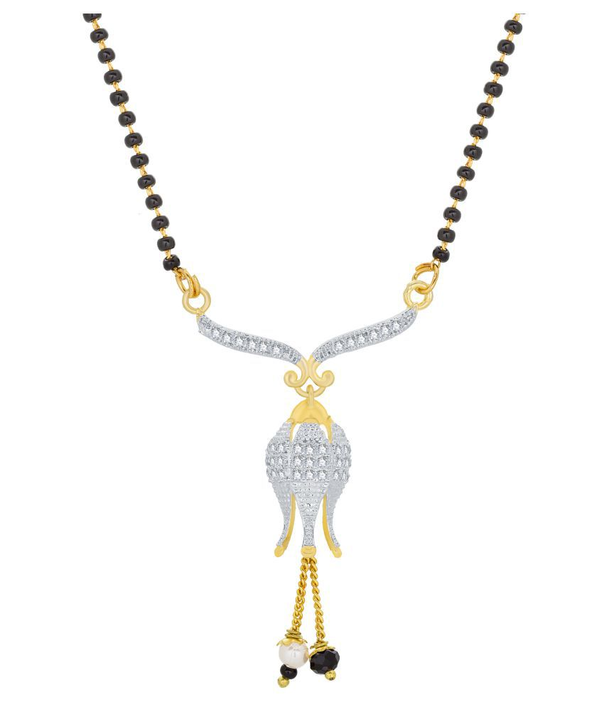 The Luxor Ethnic Traditional Daily Wear Gold Plated Temple American Diamond Pearls and Beads Mangalsutra for Women