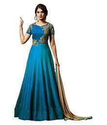 YOYO FASHION Turquoise Silk Anarkali Gown Semi-Stitched Suit