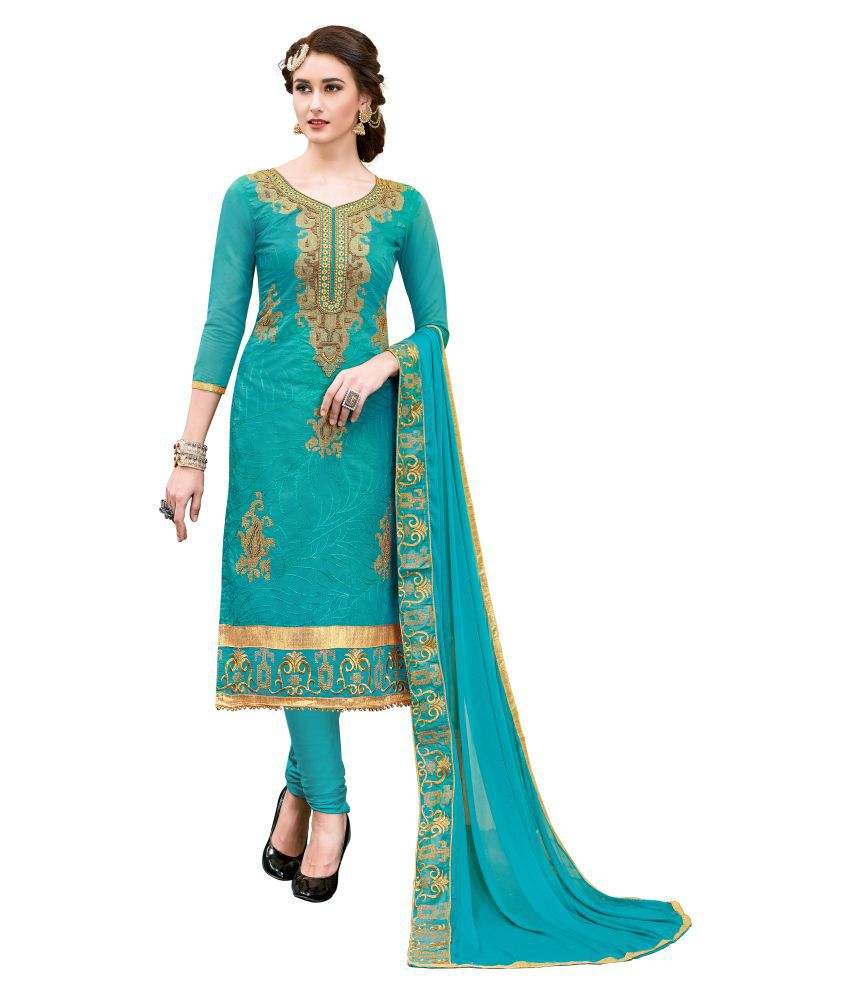 88afb57e15a Blissta Green and Beige Chanderi Dress Material - Buy Blissta Green and  Beige Chanderi Dress Material Online at Best Prices in India on Snapdeal